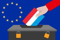 Luxembourg ballot box for the European elections stock image