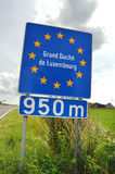 Luxembourg border. Road sign indicating approaching the border of Grand Duchy of Luxembourg a European Union country stock photo