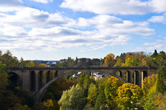 Luxembourg bridge. View of an old stone bridge, the city of Luxembourg Stock Photos
