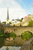 Luxembourg - bridge over Alzette river on a sunny day Royalty Free Stock Image