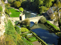 Luxembourg bridge over river Royalty Free Stock Photo