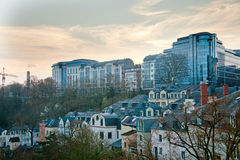 Luxembourg buildings. Luxembourg old town and new buildings Royalty Free Stock Photos