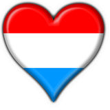 Luxembourg button flag heart shape Royalty Free Stock Images