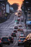 Luxembourg, cars in traffic. City traffic in the evening on the streets of downtown Luxembourg Stock Photo