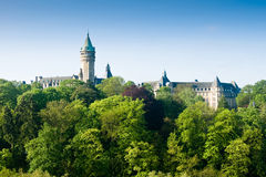 Luxembourg castle and green trees Stock Image