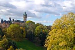 Luxembourg centra och park Arkivbilder