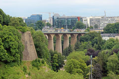 Luxembourg, central view. Panorama of Luxembourg bridges, europe Stock Photography