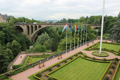Luxembourg, central view. Panorama of Luxembourg bridges, europe Stock Photo