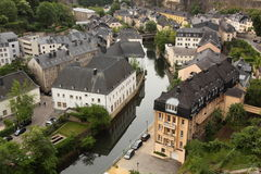 Luxembourg City. The houses along the river in old town in Luxembourg City, Luxembourg stock photo