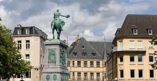 Luxembourg City. Equestrian statue of Guillaume II (Willem van Oranje) in Luxembourg City Stock Photography