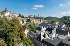 Luxembourg city, aerial view of the Old Town and Grund royalty free stock photography
