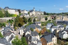Luxembourg city, aerial view of the Old Town and Grund stock photo