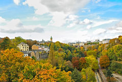 Luxembourg city. Autumn in Luxembourg city with bright trees Stock Image