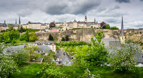 Luxembourg City. Beautiful view of Luxembourg City from the Rham Plateau Royalty Free Stock Images