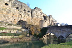 Luxembourg city, Bock Casemates. Count Siegfried built a fortified castle on the Bock promontory in 963, this turned the city into one of the most powerful Stock Photography