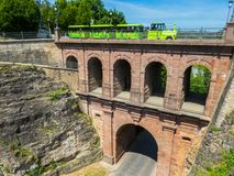 Luxembourg City. Bridge Pont du Chateau and tourist train Petrusse Express, Luxembourg Stock Images