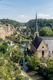 Luxembourg city, aerial view of the Old Town and Grund royalty free stock photos