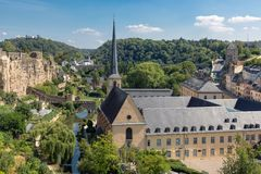 Luxembourg city, aerial view of the Old Town and Grund royalty free stock image