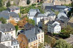 Luxembourg city, aerial view of the Old Town and Grund stock image