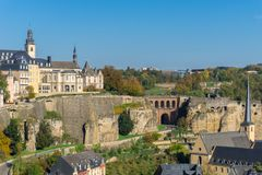 Panoramic aerial view of Luxembourg city - Old Town with defense wall royalty free stock image