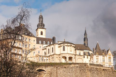 Luxembourg city cityscape. City wall and Ville Haute with Saint-Michel church, Luxembourg City Stock Photos