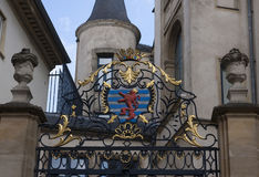 Luxembourg City crest. On the gates of the Grand Ducal Palace, Luxembourg City Stock Photo