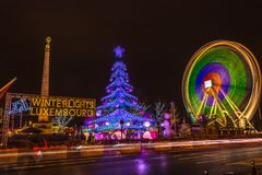 Christmas market in Luxembourg with iconic Gelle Fra visible. Luxembourg City, Luxembourg - December 17 2017: Iconic Christmas market of Luxembourg Stock Images