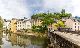 Luxembourg City, downtown. City part Grund, scenic view with the Alzette river in Luxembourg Panorama Stock Image