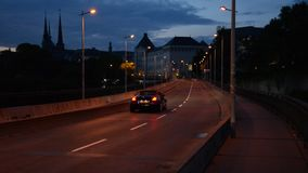 Luxembourg city during the evening hours. During the summer stock footage