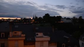 Luxembourg city during the evening hours. During the summer stock video
