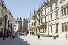 Luxembourg City. Tourist and locals stroll along street in Luxembourg City Stock Images