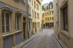 LUXEMBOURG CITY - LUXEMBOURG - JUNE 30, 2016: Narrow medieval st Royalty Free Stock Photography