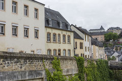 LUXEMBOURG CITY - LUXEMBOURG - JUNE 30, 2016: Narrow medieval st Royalty Free Stock Photo