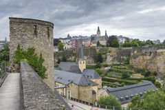 LUXEMBOURG CITY - LUXEMBOURG - JUNE 30, 2016: Narrow medieval st Stock Image