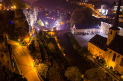 Luxembourg city by night Stock Photography