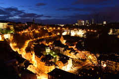 Luxembourg city by night Stock Photos
