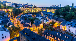 Luxembourg City night Panorama. Luxembourg City sunset top view in Luxembourg Panorama Stock Photography