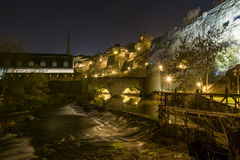 Luxembourg City night river Royalty Free Stock Image