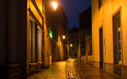 Luxembourg City At Night. Street in Luxembourg City after rain at night Stock Image