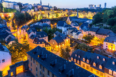 Luxembourg City night. Luxembourg City sunset top view in Luxembourg Stock Photography