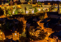 Luxembourg City night. Luxembourg City sunset top view in Luxembourg Stock Photo