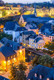 Luxembourg City night. Luxembourg City sunset top view in Luxembourg Stock Image