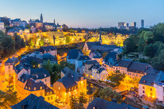 Luxembourg City night. Luxembourg City sunset top view in Luxembourg Royalty Free Stock Photo