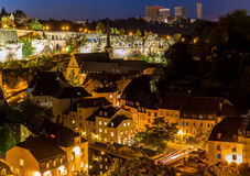 Luxembourg City night. Luxembourg City sunset top view in Luxembourg Royalty Free Stock Photos