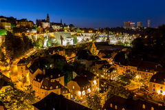 Luxembourg City night. Luxembourg City sunset top view in Luxembourg Royalty Free Stock Image