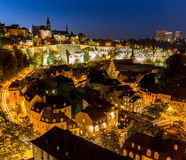 Luxembourg City night. Luxembourg City sunset top view in Luxembourg Royalty Free Stock Images