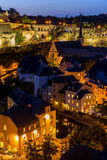 Luxembourg City night. Luxembourg City sunset top view in Luxembourg Stock Images