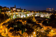Luxembourg City night. Luxembourg City sunset top view in Luxembourg Stock Photos