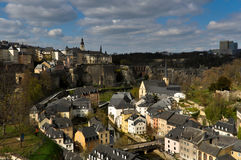 Luxembourg City Old Town. Aerial view of the Old Town of Luxembourg City Stock Photography
