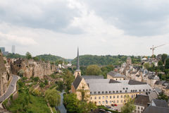 Luxembourg City. panorama. View of the city of Luxembourg from the mountain Royalty Free Stock Photo